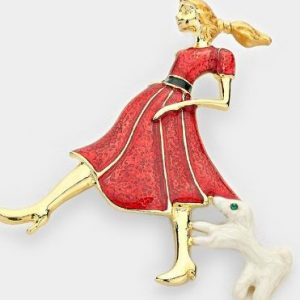 Girl & Dog Walker Brooch