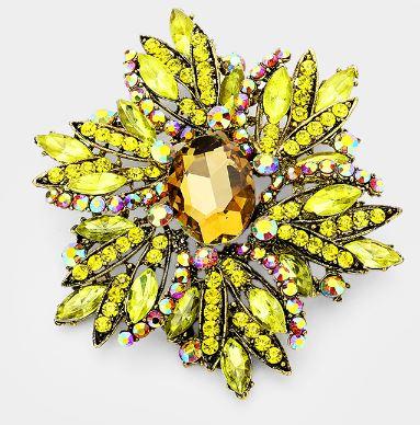 Yellow Flower Oversized Brooch