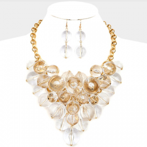 Gold & Clear Bubble Necklace