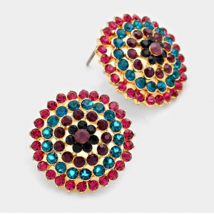 Pinkish Blue Round Studs
