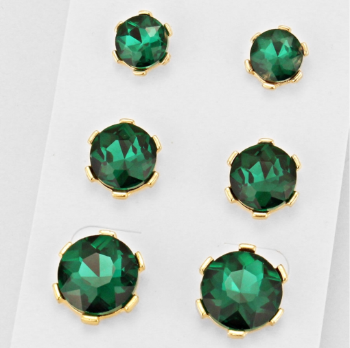 3 Pack Green Studs