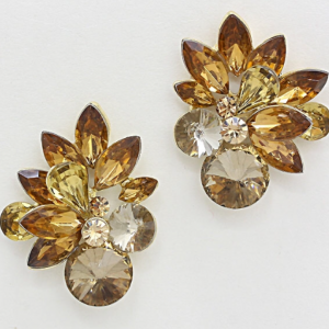 Brownish Gold Floral Studs