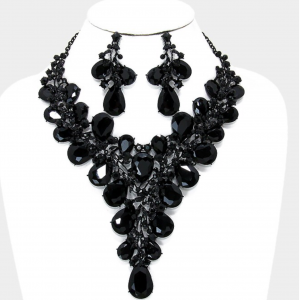Black Choker Necklace Set