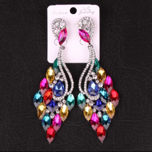 Multicolored Evening Earrings