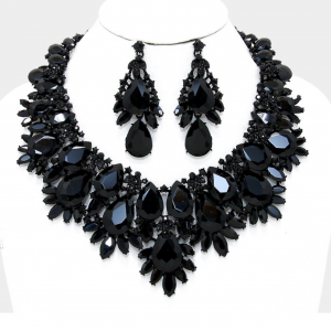 Black Necklace & Chandelier Set