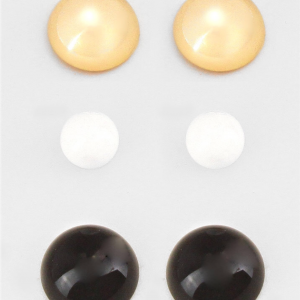 3 pc Gold Black & White Studs