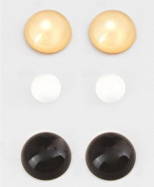3 pc Gold Black & White Studs
