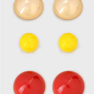 3pc Gold, Yellow & Red Studs