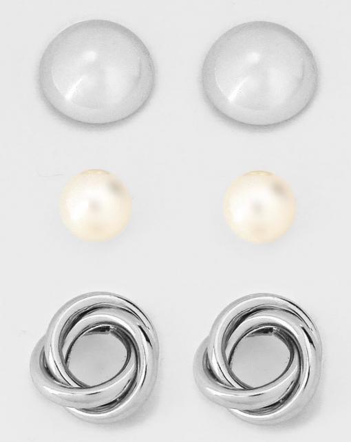 3pk Silver Pearl Studs