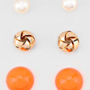 3pc Orange Gold & Pearl Studs