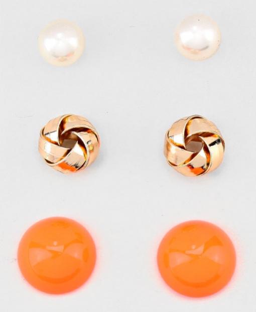 3pc Orange Gold & Pearl Studs