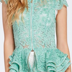 Teal Tiered Lace Peplum