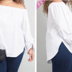 White off shoulder tie sleeves