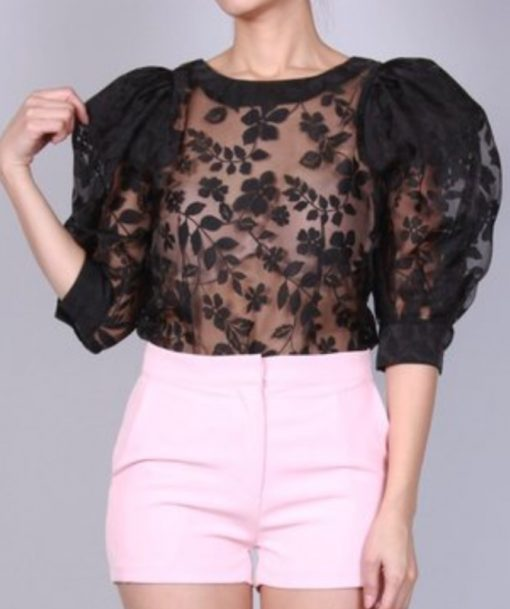 Black Sheer Puff Sleeves