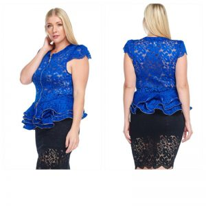 Blue Lace Peplum Top