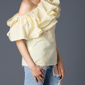 Yellow Oversized Ruffle Off Shoulder