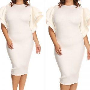 White Batwing Scuba Dress
