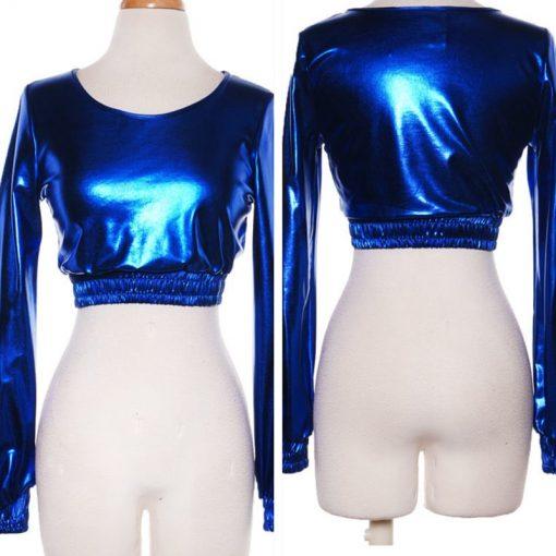 Metallic Blue Disco Crop