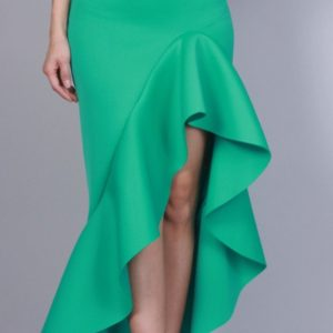 Green Scuba layered skirt