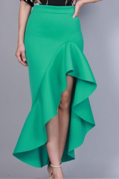 Green Scuba layered skirt